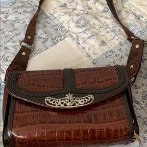 Two tone brown crossbody purse